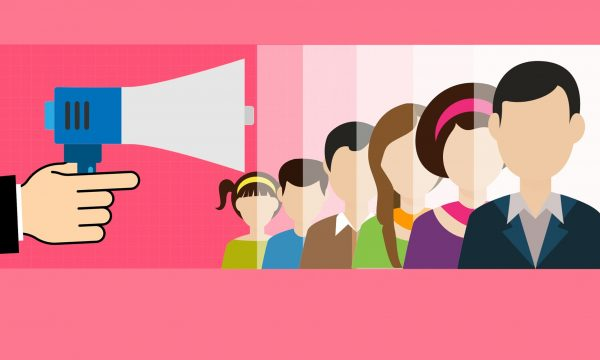 animated-megaphone-talking-to-crowd-on-pink-background